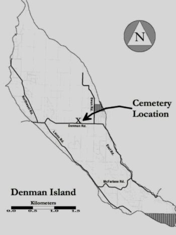Denman Island Map Showing Cemetery Location